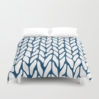 Hand Knitted Navy Duvet Cover