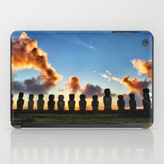 Sunrise behind the Moai iPad Case