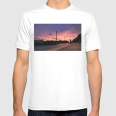 Miami Sunrise White Mens Fitted Tee SMALL