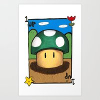 1Up Super Mario Art Print