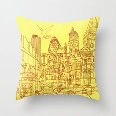 London! Yellow/Red Throw Pillow