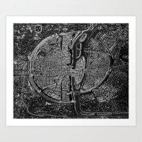 map Art Prints featuring Paris map by Le petit Archiviste