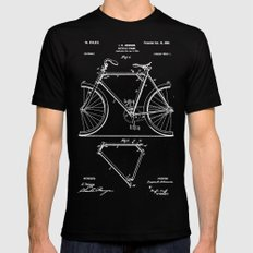 Bicycle Frame Patent Mens Fitted Tee Black SMALL