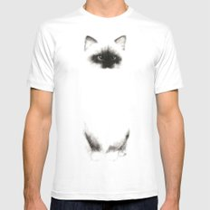 Angora Siamese Cat - Chat Siamois Angora SMALL Mens Fitted Tee White