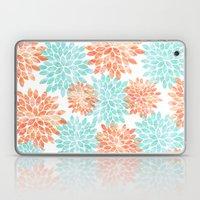 aqua and coral flowers Laptop & iPad Skin