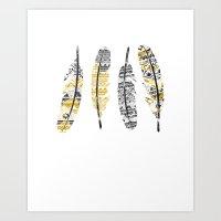 Mustard Feathers Art Print