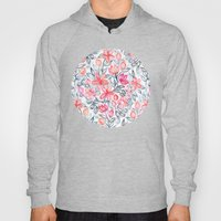 Coral and Grey Candy Striped Crayon Floral Hoody