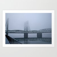 Foggy Bridge Art Print