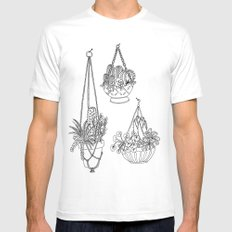 macramé plant hanger.  Mens Fitted Tee White SMALL