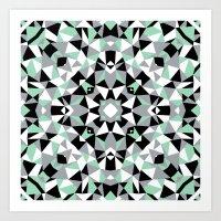 Abstract Kaleidoscope Mint Art Print