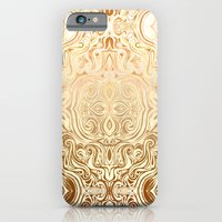iPhone Cases featuring Tribal Swirl Pattern in Neutral Tan and Cream by micklyn