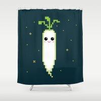 Happy Pixel Daikon Shower Curtain