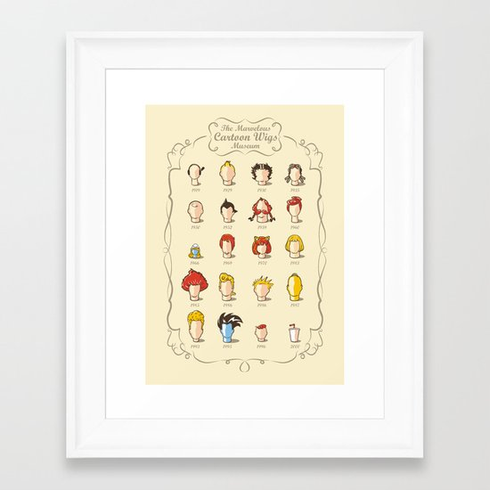 The Marvelous Cartoon Wigs Museum Framed Art Print