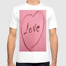 LOVE White Mens Fitted Tee SMALL