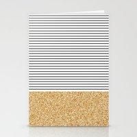Minimal Gold Glitter Str… Stationery Cards