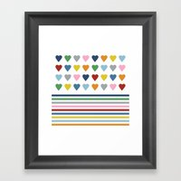Hearts Stripes Framed Art Print