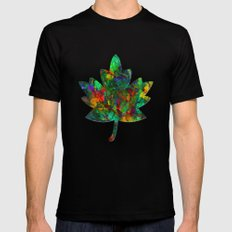 Autumn in the Garden SMALL Black Mens Fitted Tee
