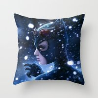 Catwoman Painting Throw Pillow
