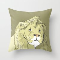 The Sad Lion Throw Pillow
