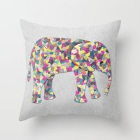 Elephant Collage in Gray Hot Pink Teal and Yellow Throw Pillow