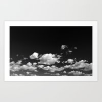Cotton Clouds (Black And… Art Print