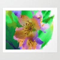 Purple Flowers - Waterco… Art Print