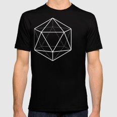 Icosahedron Pattern Bright Blue Black Mens Fitted Tee SMALL