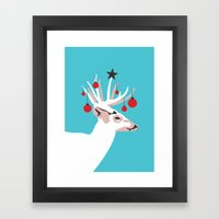 Deer with Cheer Framed Art Print