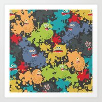 Funny microbes. Art Print
