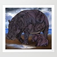 Hippos Art Print
