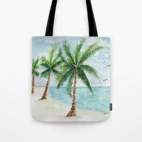 watercolor palm Tote Bag