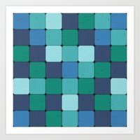 Blue Wood Blocks Art Print
