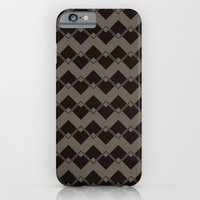 Taupe Geometric Art Deco Chevron Pattern iPhone 6 Slim Case