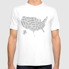 United States of Hand Lettering Mens Fitted Tee SMALL White