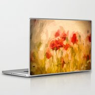 Fiery Poppies In A Golde… Laptop & iPad Skin