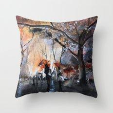 Autumn rain - watercolor Throw Pillow