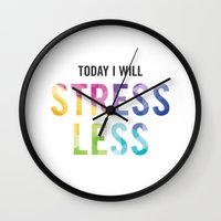 New Year's Resolution - TODAY I WILL STRESS LESS Wall Clock