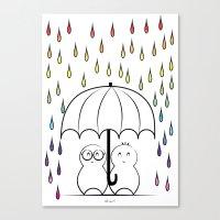 Mimos under Rainbow rain Canvas Print