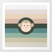 monkey Art Prints featuring Monkey by artsimo
