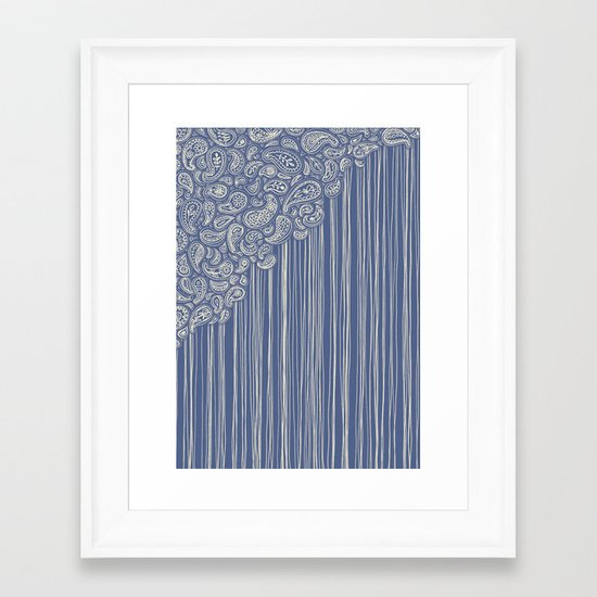 The Unraveling of Paisley Lace (in blue and cream) Framed Art Print