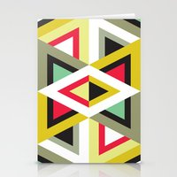 Stripy Triangle Pattern Stationery Cards