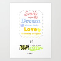{ENG} SMILE · DREAM · LOVE Art Print