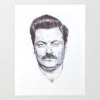 Ron Fucking Swanson Art Print