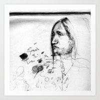 Thoughtful - Native American Indian Drawing  Art Print