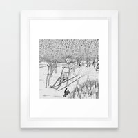 Kick-sledding Fox Framed Art Print