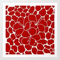 Hibiscus Animal RED IVOR… Art Print