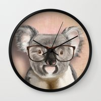 Funny koala with glasses Wall Clock