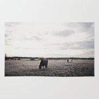 Horses In A Field In Bla… Rug