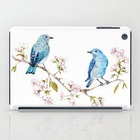 Mountain Bluebirds on Sakura Branch iPad Case