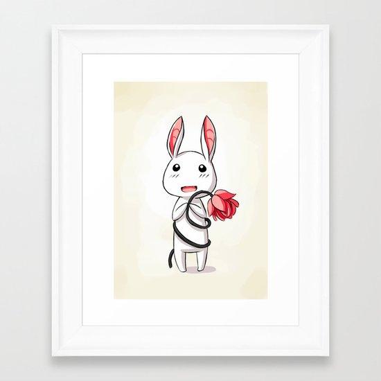 Bunny Flower Framed Art Print